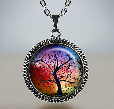 TREE OF LIFE /& RAINBOW Glass Pendant with Leather Necklace