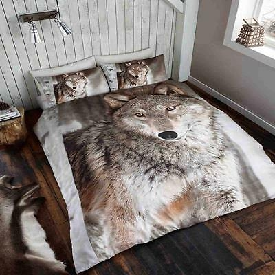 Wild @ Heart Wolf Animal Printed 3D Duvet & Pillow Cover Double / King Sizes