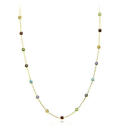 14K Yellow Gold Necklace With Multi Color Gemstones By The Yard 18 Inches