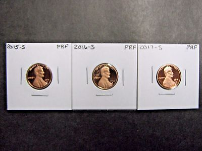 2015 S 2016 S 2017 S Proof  Lincoln Union Shield Penny/ Cents