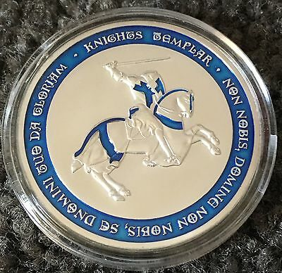 Blue Knight Templar Coin Medallion Horse Shield Finished In Silver 999 1oz New