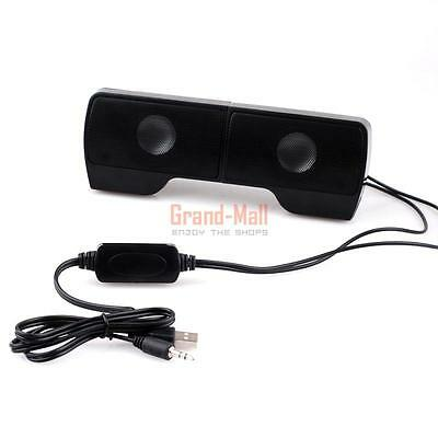 Mini Portable USB Stereo Speaker for Notebook Laptop PC with Clip Black