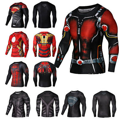 Men Outdoor Cycling Jersey Quick-Dry Tops Long Sleeve T-Shirts Avengers Printed