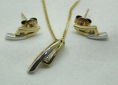 Stylish Two Colour 9ct Gold And Diamond Matching Pendant And Earrings Set