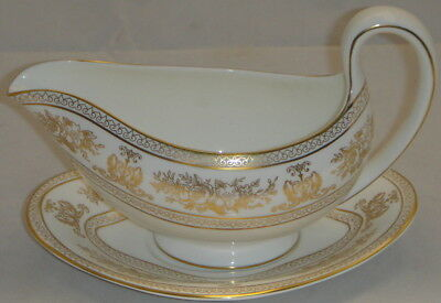 Wedgwood Columbia Gold Gravy Boat & Underplate