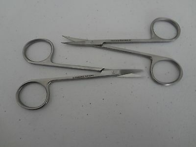 "2 Iris Scissors 4.5"" Curved & Straight German Stainless Steel CE Surgical"