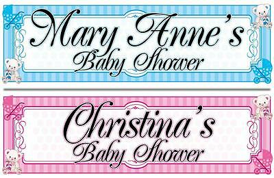"""2 PERSONALISED BABY SHOWER BANNER 3 ft - 36 """"x 11"""" - ANY NAME, BLUE OR PINK"""