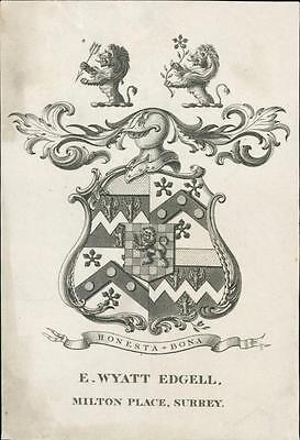E. Wyatt. Edgell. Milton Place, Surrey. Bookplate. Armorial Lions. Knight qq1102