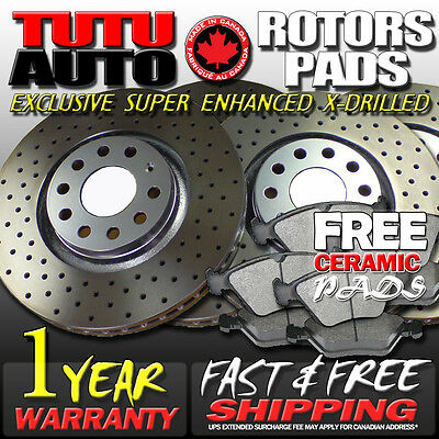 S0673 FIT 2007 2008 2009 2010 2011 Toyota Camry Drilled Brake Rotors Pads F+R