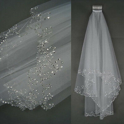 Charm 2T White/Ivory Elbow Beaded Edge Sequins Bridal Wedding Veil With Comb