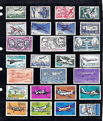 AIRCRAFT AVIATION Thematic STAMP Collection Majority USED REF:TH428