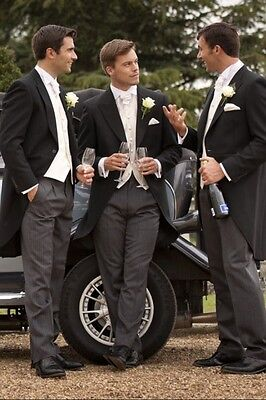 3 Piece Mens Black Morning Suits With Ivory Waistcoat Bespoke Groom Tailcoats