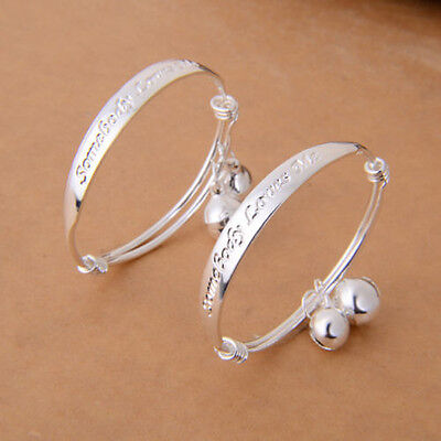 Lovely Silver Plated Baby Kid Bell Bangle Bracelet Xmas Gift
