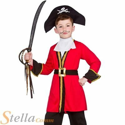 Boys Red Pirate Captain Hook Child Fancy Dress Costume Kids Book Week Outfit