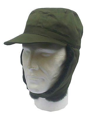 Swedish Vintage Surplus Army Cold Weather Ear Warmer Army Hat Olive Popper