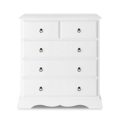 Romance 2+3 white chest of drawers. QUALITY Large French 5 draw chest. ASSEMBLED
