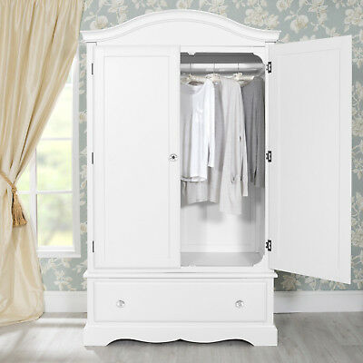 Romance large white double wardrobe with deep drawer, Stunning French Wardrobe