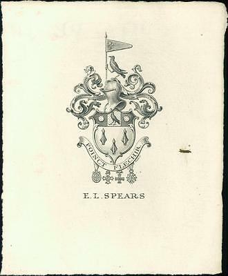 Sir Edward Louis Spears, 1st Baronet. Bookplate. Knight's helmet  qq1110
