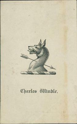 Charles Windle.  Bookplate.  Hound shot with arrow    qq1116