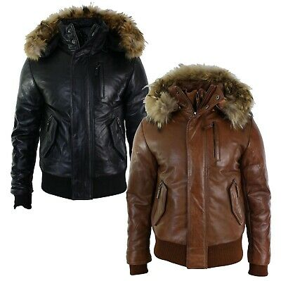 Mens Real Fur Hood Bomber Leather Jacket Black Puffer Padded