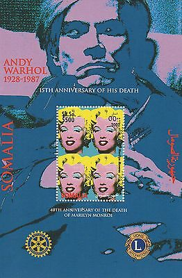 Anniversary Of The Deaths Of Andy Warhol And Marilyn Monroe Mnh Stamp Sheetlet