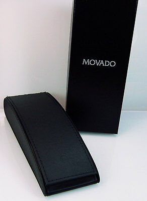 Vintage Movado Black Long Watch Storage Gift Box Case & Instructions Booklet