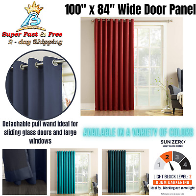 Extra Wide Window Curtain Panel 100 X84 Patio Grommet Curtains For