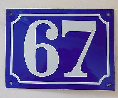 Large ANTIQUE FRENCH STEEL ENAMEL DOOR GATE HOUSE PLAQUE SIGN Blue Number 67
