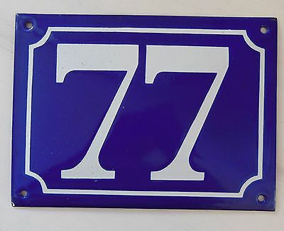 Large ANTIQUE FRENCH STEEL ENAMEL DOOR GATE HOUSE PLAQUE SIGN Blue Number 77