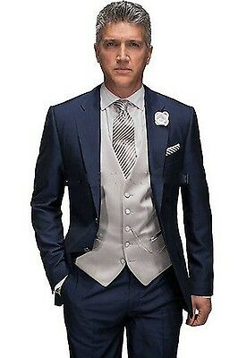 3 piece Tailored Mens Wedding Tuxedos Bespoke Groom Groomsmen Formal Party Suits