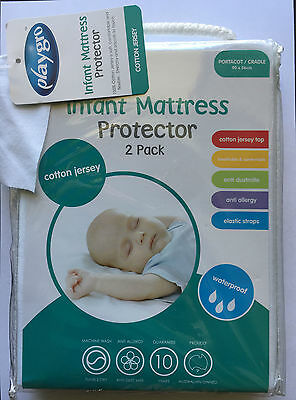 Playgro Cotton Jersey Waterproof Cradle Portacot Mattress Protector Twin Pack