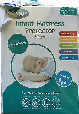 NEW Playgro Cotton Jersey Waterproof Boori Large Cot Protector Twin Pack (2)