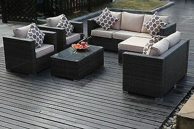 Rattan Wicker Garden Furniture Conservatory Sofa SET 8 SEAT 1 TABLE brown