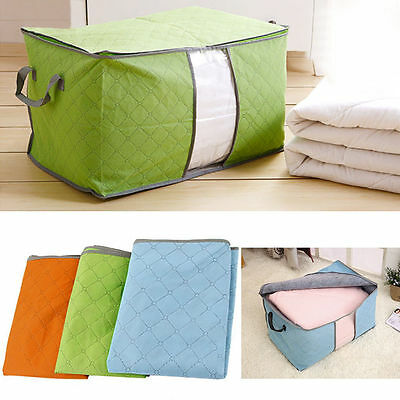 UK Large Clothes Storage Bag Quilt Bedding Duvet Handles Laundry Pillows Zip Box