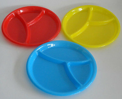 Baby Microwave Hard Plastic Round Divided Plates Dish Tray Utensils Kids