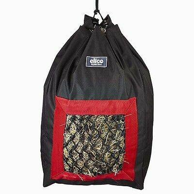 Elico Deluxe Hay Bag BLACK/RED for travelling & stable use + Worldwide Shipping