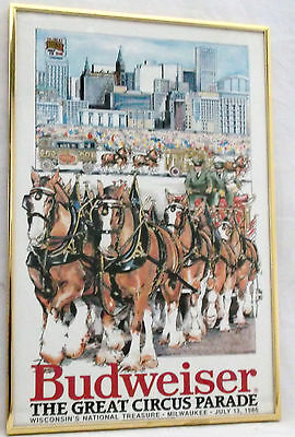 """Budweiser Beer Poster The Great Circus Parade Milwaukee Wisconsin 1986-18 X 12"""""""