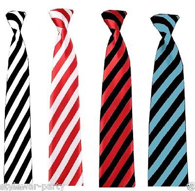 Mens Stripe Ties Neon Unisex Stag Night Hen Parties School Girls St Trinians Tie