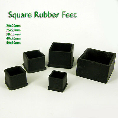 Square Rubber Chair Table Feet Furniture  End Cover Caps 20 25 30 40 50 60 mm