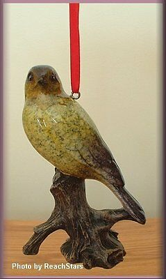 Gold Finch Bird Ornament By Big Sky Carvers Stone Cast Free U.s. Shipping