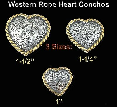 Conchos Lot Of 6 Pcs Western Heart Antique Silver & Gold Rope Edge 3 Sizes New