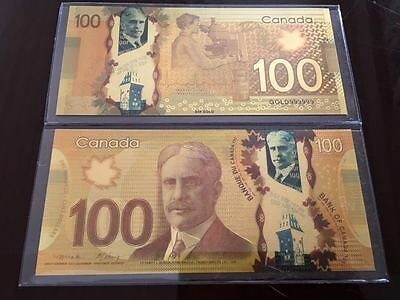 Canadian $100 One Hundred Dollar Banknote 24k Pure Gold Color with Deluxe Holder