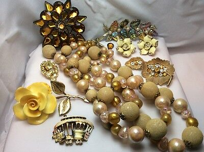 Vintage Jewelry for Repair/Parts, Steampunk, Arts/Crafts, Yellow Rhinestones #2