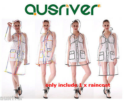 Black & Coloured Transparent Raincoat Womens Girl Clear Rain Coat Hiking Camping