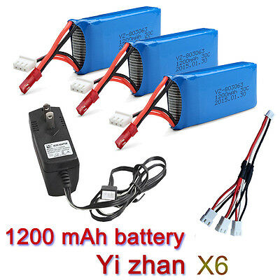 3pcs 7.4V 1200mAh Battery+Charger+3in1Cable For JJRC H16 YiZhan X6 RC Helicopter