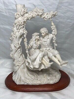 Vintage French Parian Style Lady & Gentleman Lovers Floral Centrepiece Figurine