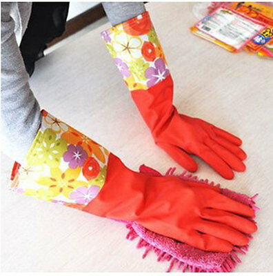 New Rubber Gloves Latex Kitchen Long Dish Washing Cleaning Protect Hand