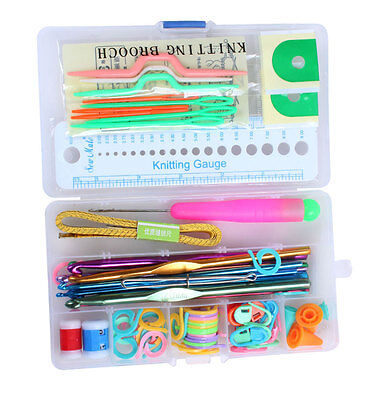 Portable Knitting knit craft Accessory Supply Set Basic Tools Case Lots Kits New