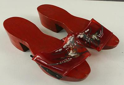 Vintage Costume Artisan Hand Painted Water Bird Red Wood Clogs Shoes Malaysia