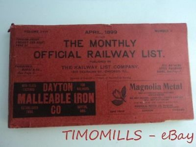1899 The Monthly Official Railway List Railroad Guide Catalog Antique Original
